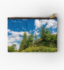 spruce trees on a slope under the blue sky Studio Pouch