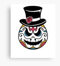 Spooky Halloween Top Hat Sugar Skull Art Graphics Design Canvas Print