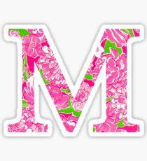 The Letter M- Preppy Pink Rose and Flower Design Sticker Sticker