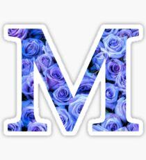 The Letter M-Blue Roses Design Sticker Sticker