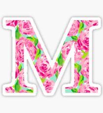The Letter M- Pink Rose Design Sticker Sticker