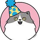 Joyful Fluffy Birthday Cat in Hat by zoel