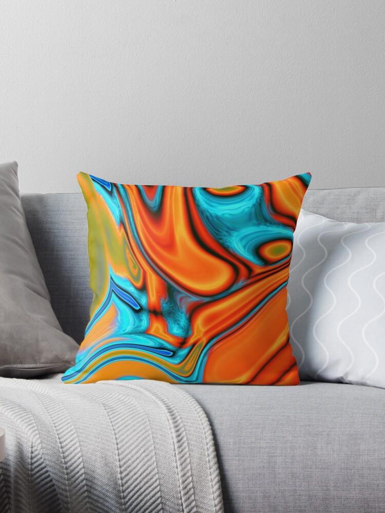 vivid modern Southwest hipster turquoise orange swirls by lfang77