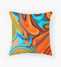 vivid modern Southwest hipster turquoise orange swirls Throw Pillow
