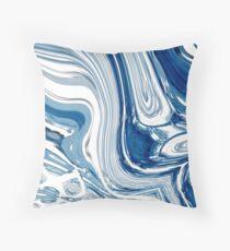 Cojín ondas marinas de la acuarela de la playa náutica elegante del mármol azul