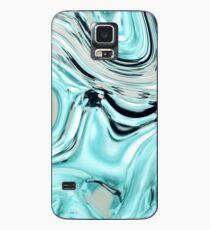 abstraktes Marmormuster-Türkisaqua-Blau wirbelt Hülle & Klebefolie für Samsung Galaxy