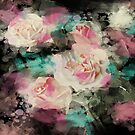 romantic vintage black floral watercolor pink roses by lfang77