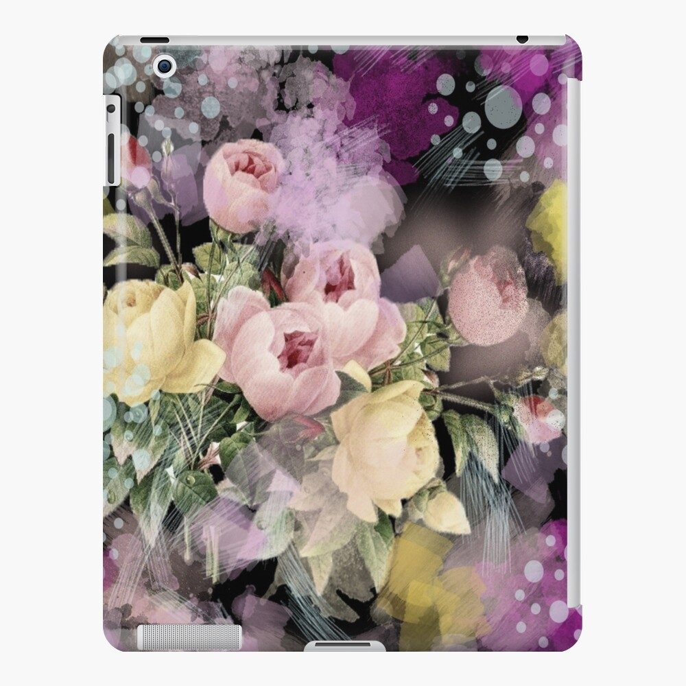 shabby chic french country flowers vintage negro floral Funda y vinilo para iPad