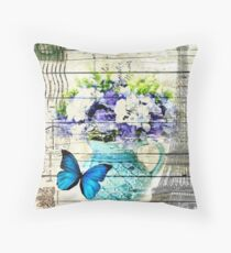 shabby chic blue butterfly flowers vintage paris eiffel tower Throw Pillow