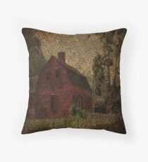 primitive western country rustic burlap farm red barn Floor Pillow