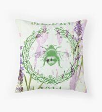 lila Lavendelweinlesebiene des französischen Landes Dekokissen