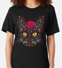 Day of the Dead Kitty Cat Sugar Skull Slim Fit T-Shirt