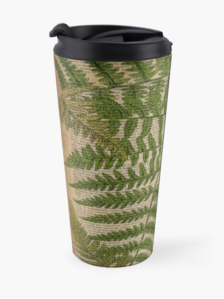Alternate view of vintage foliage hipster botanical print fern leaves Travel Mug
