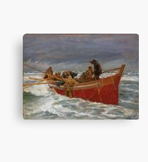 Michael Ancher - The red lifeboat sailing Canvas Print