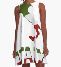 italy map with flag A-Line Dress