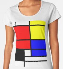 Mondrian style art deco design in basic colors Women's Premium T-Shirt
