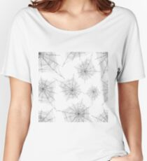 Hand drawing decorative cobweb seamless pattern, sketch style, background spider web halloween, silver color outline, white background. Women's Relaxed Fit T-Shirt