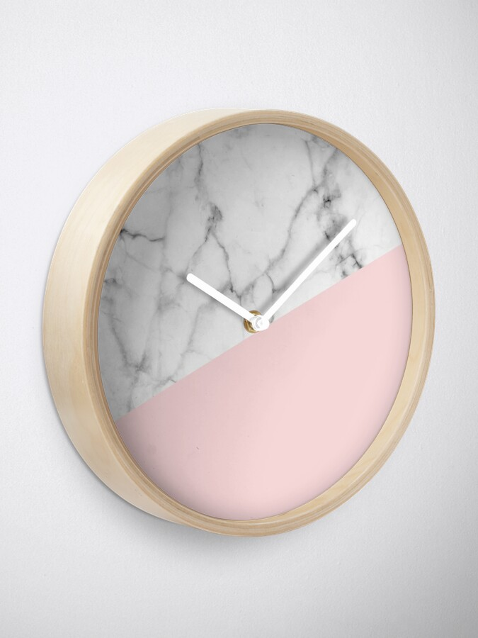 Alternate view of Real White Marble Half Powder Blush Pink Clock