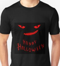 Hand drawing funny,cartoon face with a spiteful look and toothy smile,decorative background for halloween T-Shirt