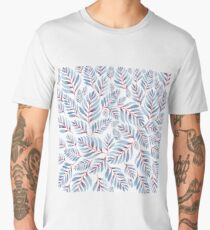 Blue leaves with pink center on a white background Men's Premium T-Shirt