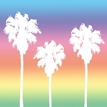 Rainbow Palm Tree Sunset by julieerindesign