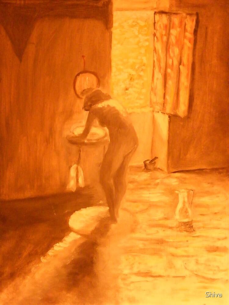 Girl washing by Shiva