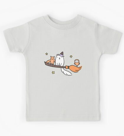 White Kitty Cat Witch with Owl & Bat Kids Clothes