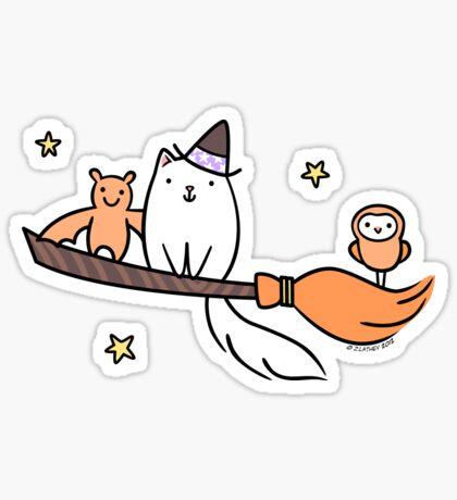 White Kitty Cat Witch with Owl & Bat Sticker
