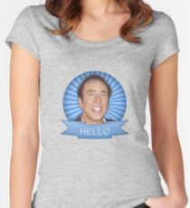 Nicolas Cage - HELLO w/Banner Women's Fitted Scoop T-Shirt