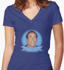 Nicolas Cage - HELLO w/Banner Women's Fitted V-Neck T-Shirt