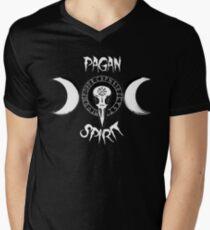 Odin's Protection Symbol - Runic Circle - Raven's Skull - Triple Goddess Men's V-Neck T-Shirt