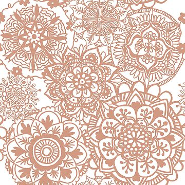 Rose Gold Mandala Pattern by julieerindesign