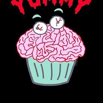 Yummy Zombie Brain Cupcake by ArtVixen