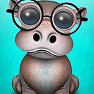 Nettes Nerdy Baby-Flusspferd-tragende Gläser auf Blau von jeff bartels