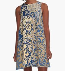 Blue and Gold Mandala Pattern A-Line Dress