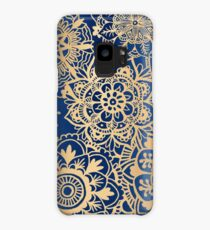 Blue and Gold Mandala Pattern Case/Skin for Samsung Galaxy