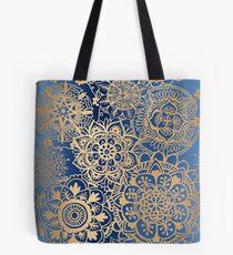 Blue and Gold Mandala Pattern Tote Bag