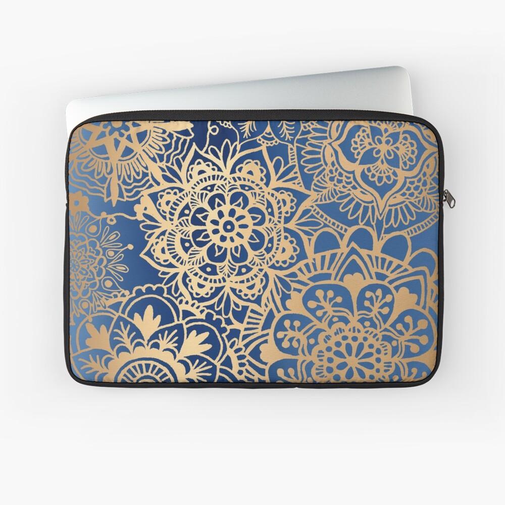 Blau und Goldmandala-Muster Laptoptasche