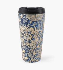 Blue and Gold Mandala Pattern Travel Mug