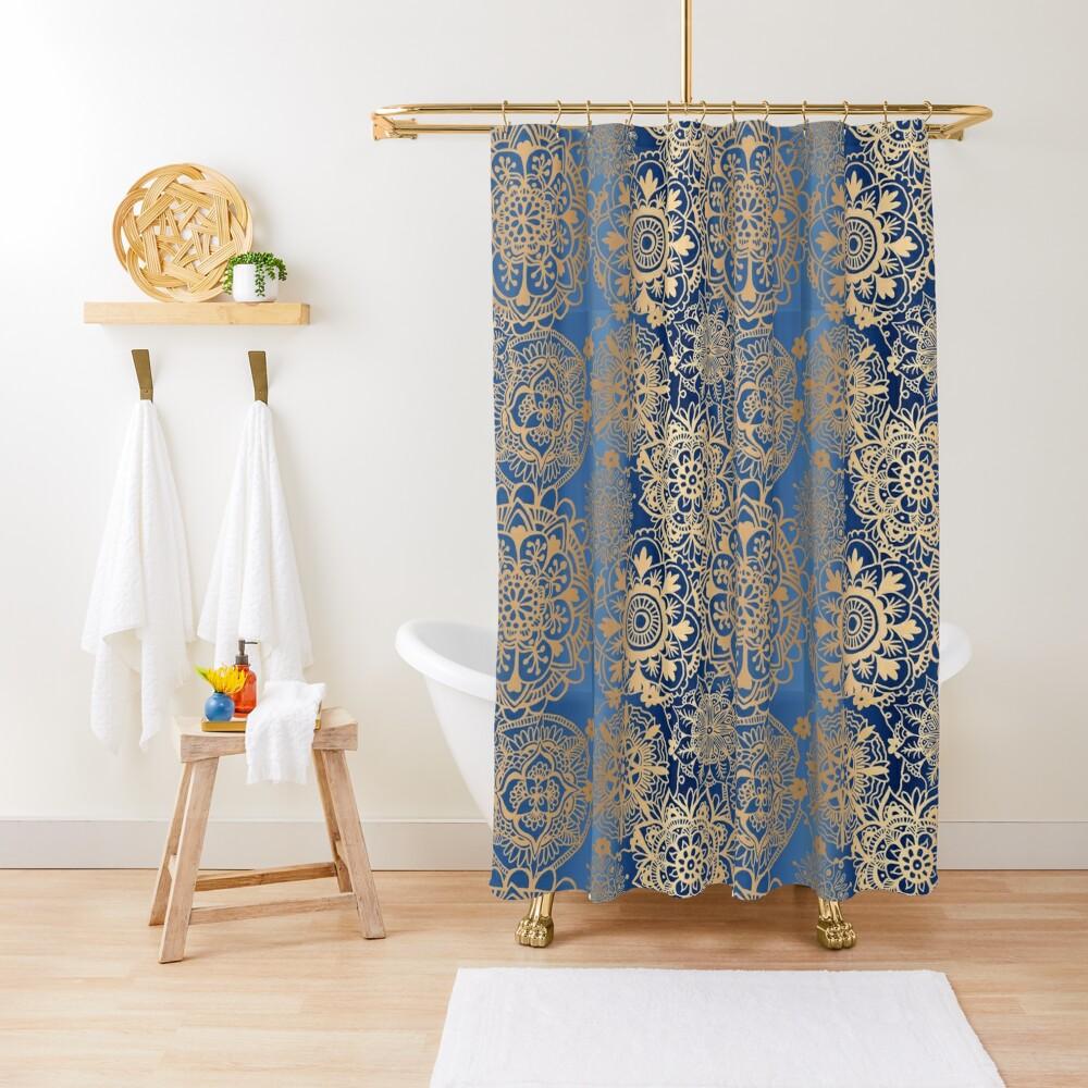 Blue and Gold Mandala Pattern Shower Curtain
