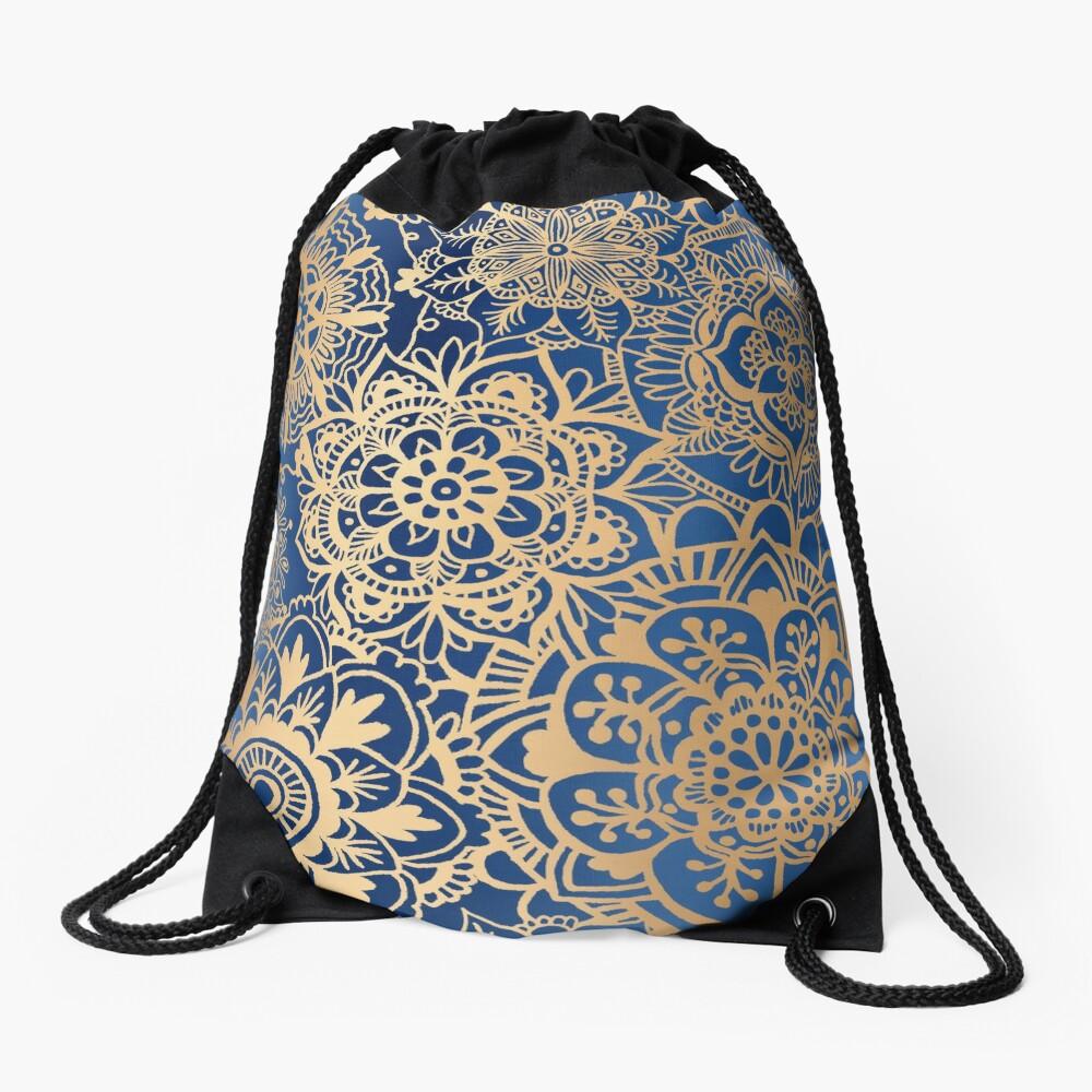 Blue and Gold Mandala Pattern Drawstring Bag