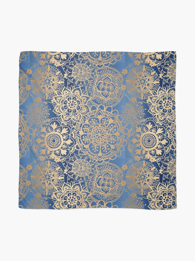 Alternate view of Blue and Gold Mandala Pattern Scarf