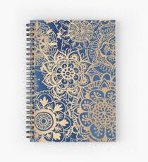 Blue and Gold Mandala Pattern Spiral Notebook