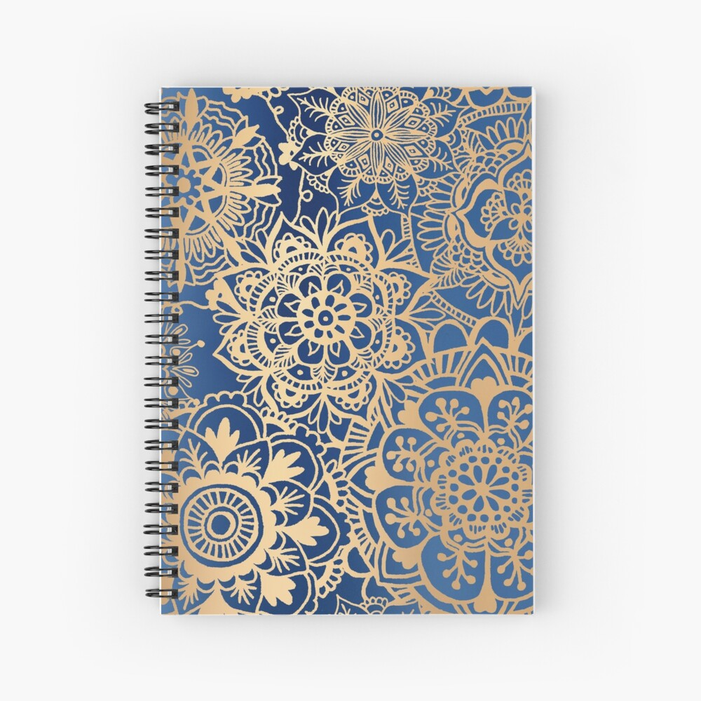 Blue and Gold Mandala Pattern Spiral Notebook