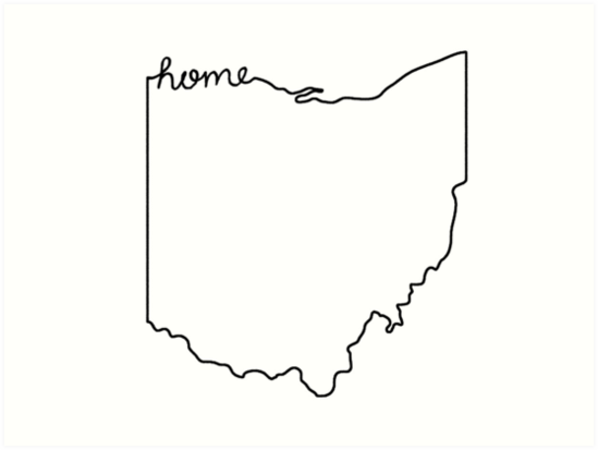 ohio home state outline art prints by jamie maher redbubble