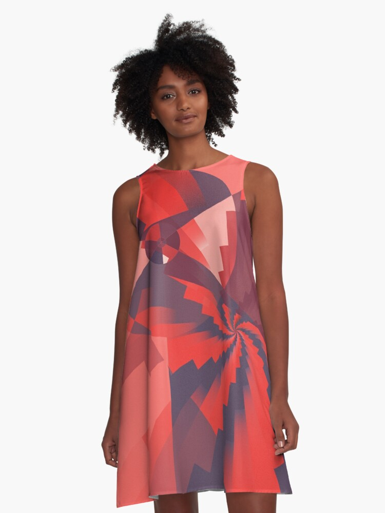 Red Pinwheel abstract A-Line Dress Front