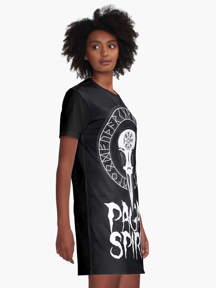 Vista alternativa de Vestido camiseta Espíritu Pagan - cráneo del cuervo con runas círculo y símbolo de Odin Schutz