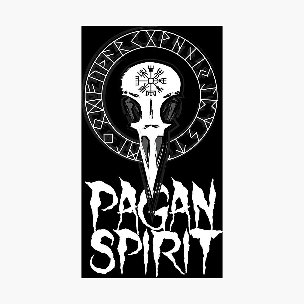 Espíritu Pagan - cráneo del cuervo con runas círculo y símbolo de Odin Schutz Lámina fotográfica