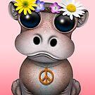 Niedlicher Baby-Flusspferd-Hippie auf Rosa von jeff bartels
