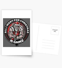 Tough Santa - All I want for Christmas is Gainz Postcards